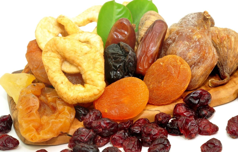 Фото обои еда, орехи, изюм, инжир, курага, сухофрукты, чернослив, полезная, финики