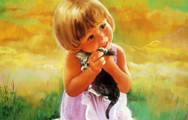 Фото обои котенок, рисунок, ребенок, девочка, живопись