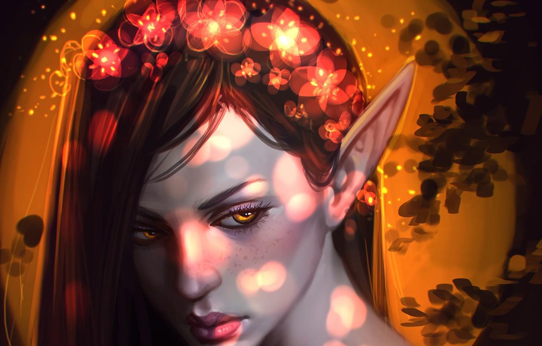 Фото обои глаза, взгляд, девушка, цветы, лицо, эльф, арт
