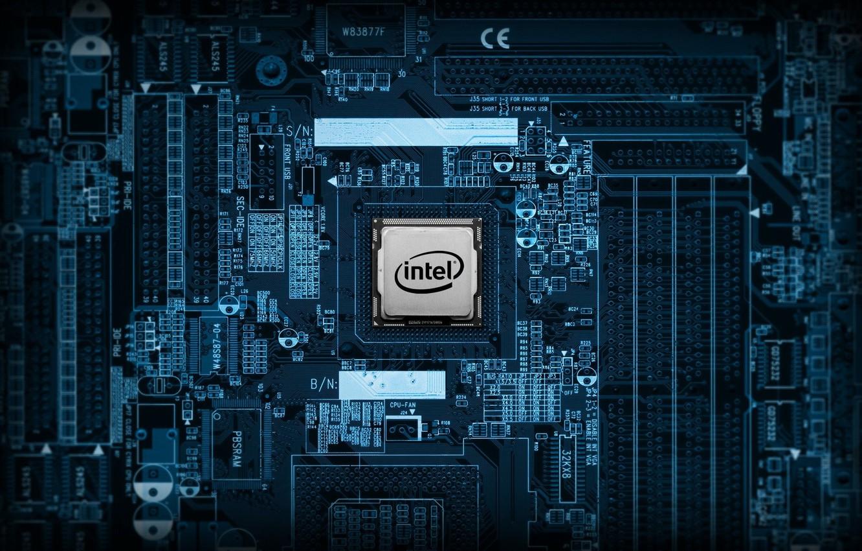 Фото обои intel, motherboard