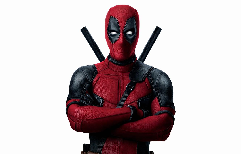 Фото обои красный, оружие, фантастика, маска, костюм, белый фон, Райан Рейнольдс, Ryan Reynolds, мечи, супергерой, Deadpool, Дэдпул, …