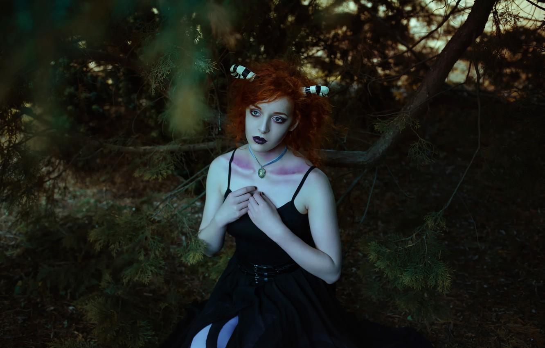 Фото обои лес, девушка, фантазия, арт, рожки, Forest child