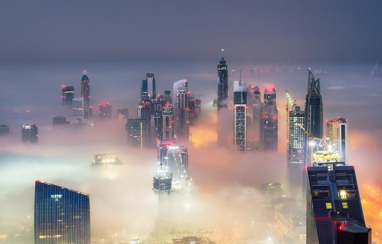 Обои высотки, оаэ, дубай, макушки, Город, туман. Города foto 9