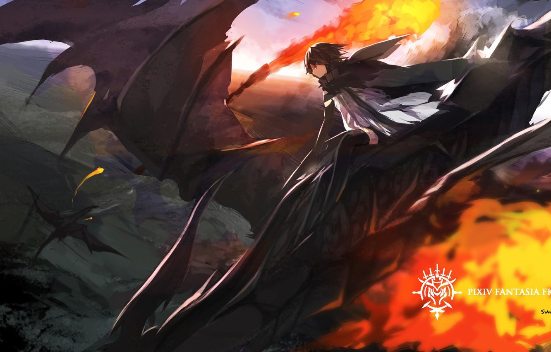 Фото обои небо, полет, огонь, магия, драконы, аниме, арт, парень, swd3e2