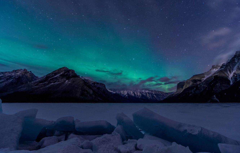 Фото обои Sky, Canada, Aurora, Winter, Lights, Night, Northern, Lake, Banff, Minnewanka