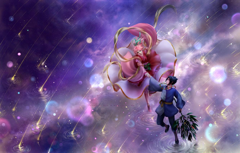 Фото обои вода, naruto, art, sakura, sasuke, косплей, звездопад, humoster