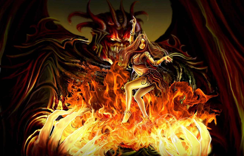 Фото обои девушка, огонь, танец, руки, демон