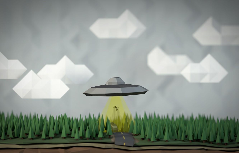 Фото обои небо, человек, НЛО, похищение, геометрия, фигуры, UFO