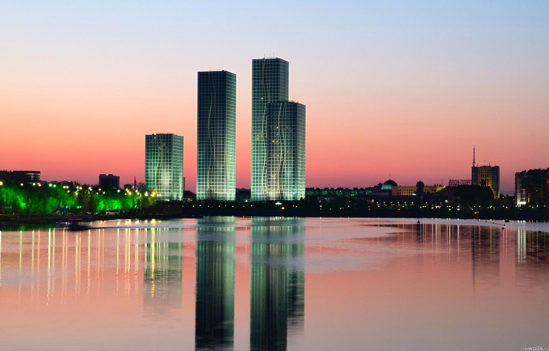 Обои здания, свет, дома, kazakhstan, казахстан. Города foto 7