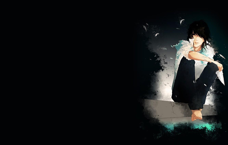 Фото обои перья, Парень, черный фон, сидит, art, белая рубашка