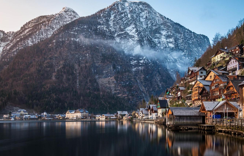 Фото обои зима, лес, горы, природа, озеро, дома, Австрия, Альпы, Hallstatt, памятник ЮНЕСКО, коммуна