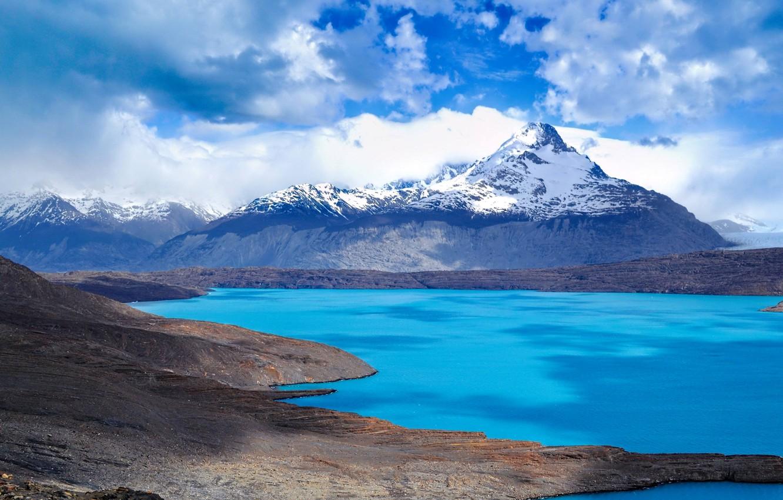 Фото обои небо, облака, снег, горы, озеро