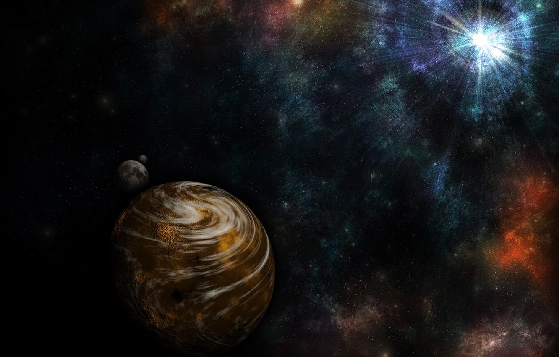 Фото обои лучи, туманность, звезда, планета