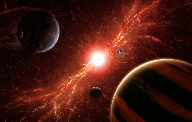 Фото обои энергия, космос, взрыв, звезда, планеты, арт, спутники