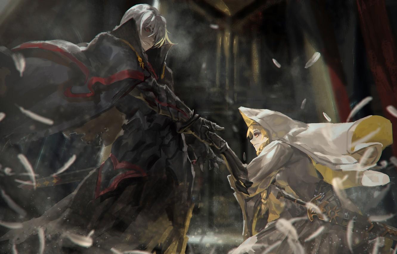 Фото обои девушка, оружие, меч, аниме, арт, капюшон, парень, alcd