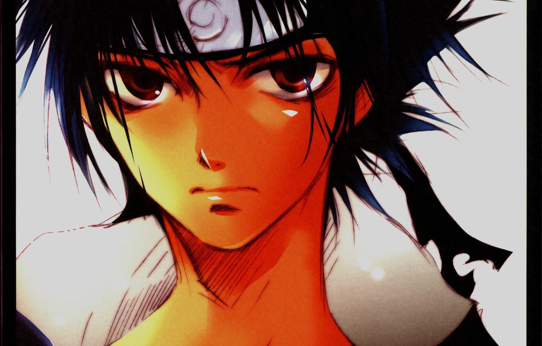 Фото обои взгляд, лицо, мальчик, Sasuke Uchiha, Naruto Shippuden, повязка на лоб, эмблема конохи