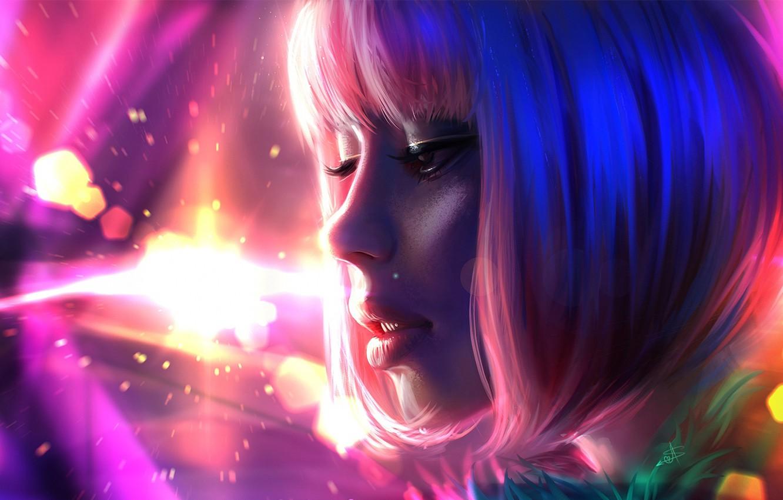 Фото обои девушка, лицо, розовый, волосы, цвет, арт, губы, живопись