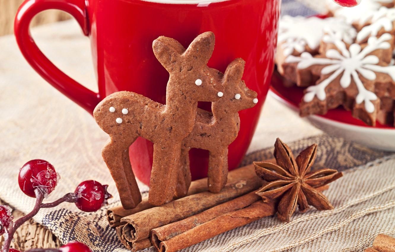 Фото обои снежинки, ягоды, Новый Год, печенье, Рождество, чашка, сладости, корица, олени, Christmas, красная, выпечка, New Year, …