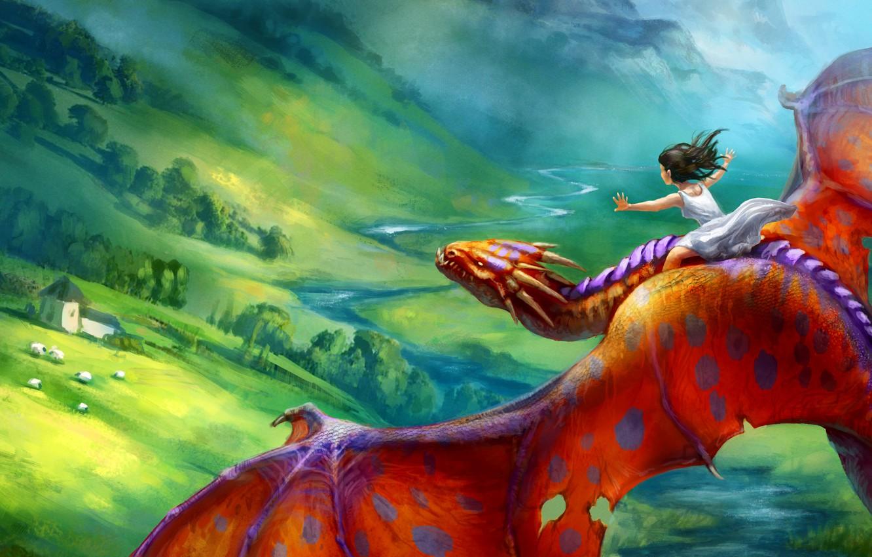 Фото обои полет, красный, фантастика, дракон, арт, девочка