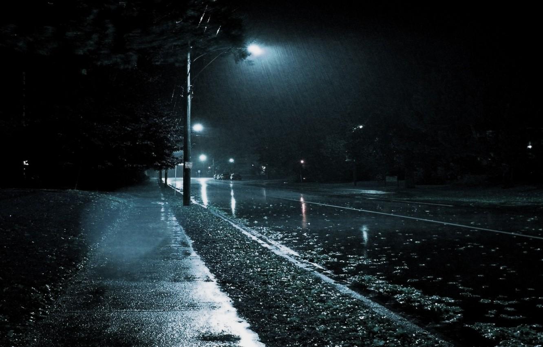 Фото обои Город, Дождь, Черно-белое, Нуар.