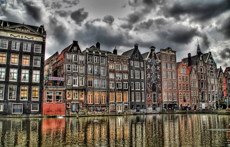 Фото обои Канал, Амстердам, Кофешоп