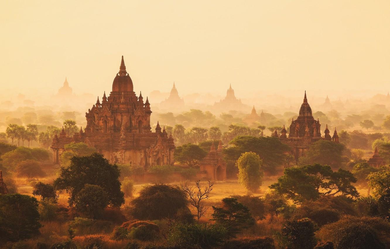 Фото обои утро, дымка, Мьянма, Бирма, храмы