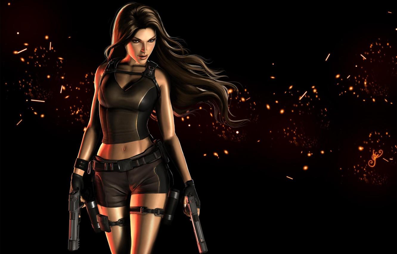 Фото обои взгляд, девушка, оружие, волосы, пистолеты, арт, Tomb Raider, черный фон, Lara Croft