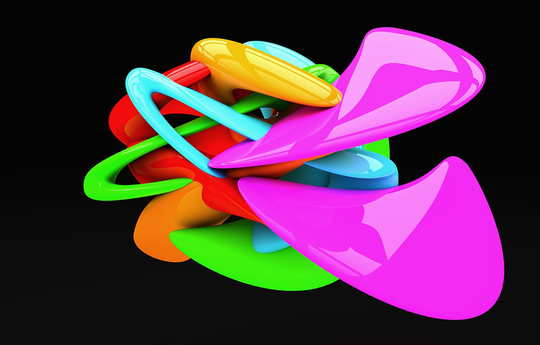 Фото обои линии, фигура, изгибы, цветная, чёрный фон