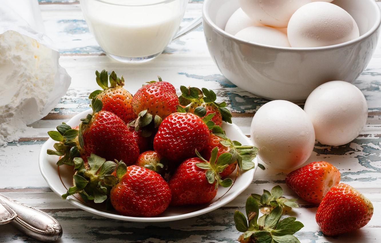 Фото обои яйца, berry, молоко, клубника, ягода, sweet, strawberry, dessert, мука, milk, egg, flour, pie, Emi, strawberry …