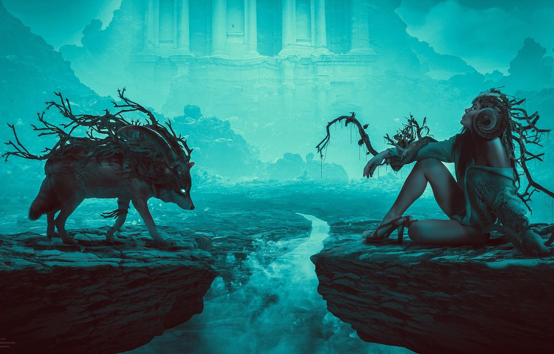 Фото обои ночь, туман, замок, night, Digital Art, Wolfmother