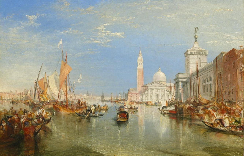 Фото обои море, башня, дома, картина, лодки, Венеция, собор, Venice, городской пейзаж, колокольня, Уильям Тёрнер, The Dogana …