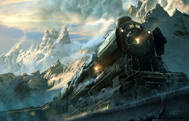 Фото обои дорога, горы, паровоз, локомотив, железная
