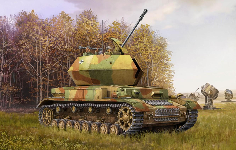Фото обои war, art, painting, tank, ww2, flak, Ostwind Flakpanzer