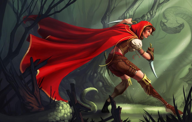 Фото обои лес, девушка, красный, оружие, змея, арт, капюшон, плащ