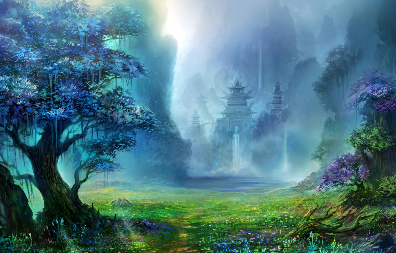 Фото обои трава, горы, Лес, храм, водопады
