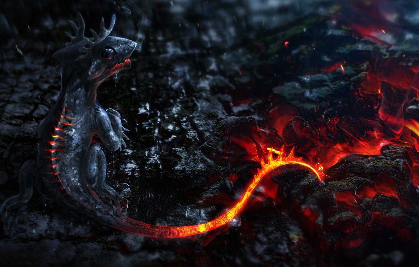 Фото обои огонь, вулкан, fire, fantasy, дракончик, volcano, little dragon