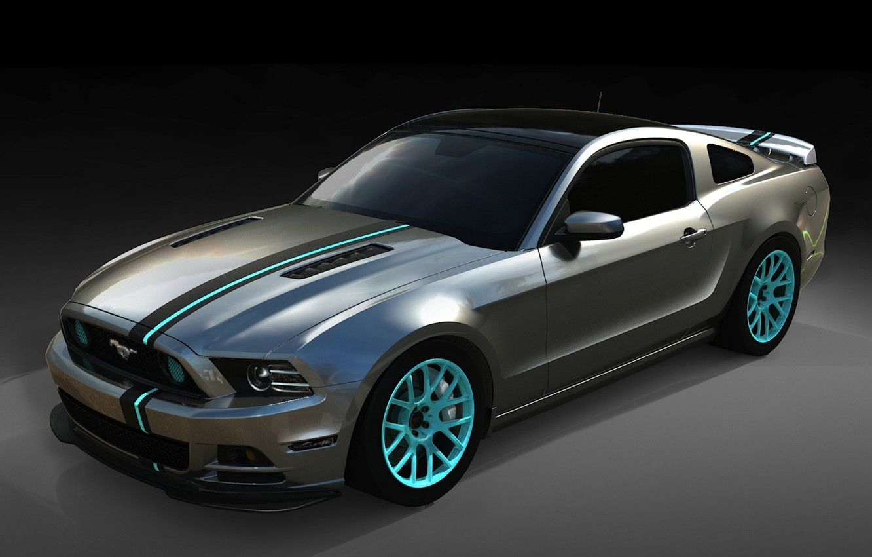 Фото обои полосы, фон, тюнинг, Mustang, Ford, Форд, Мустанг, диски, tuning, передок, Muscle car, Мускул кар, SEMA, …