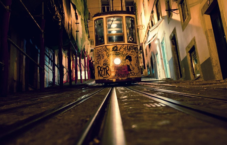 Обои lisbon, трамвай, ночь. Города foto 9