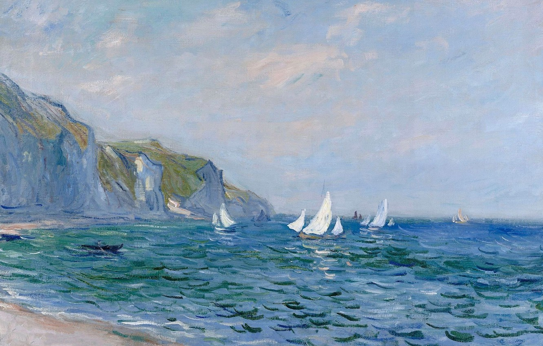 Скачать обои картина, морской пейзаж, Клод Моне, Скалы и Парусники в  Пурвиле, раздел живопись в разрешении 1024x1024