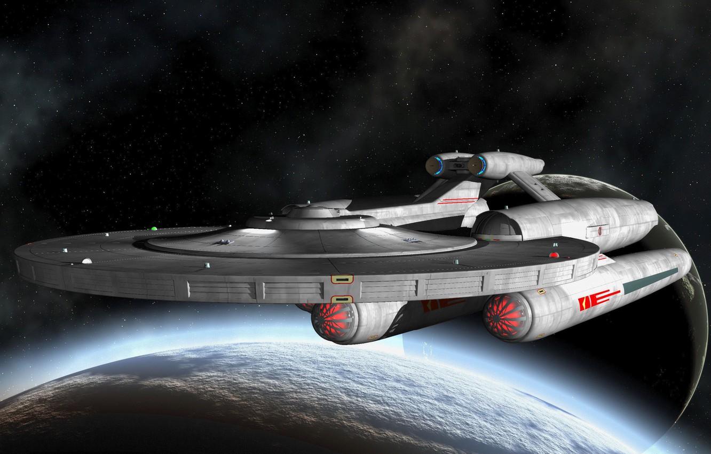 Фото обои космос, рендеринг, фантастика, планеты, корабль, спутник, атмосфера