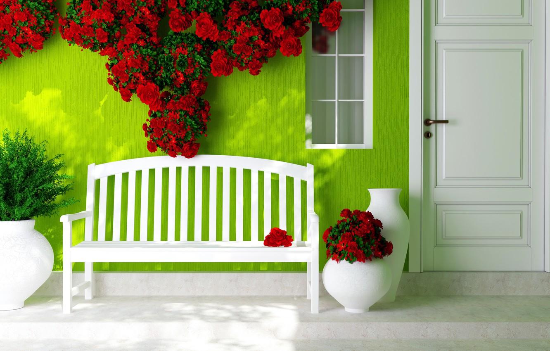 Фото обои цветы, дверь, окно, лавочка, вазы, красные розы