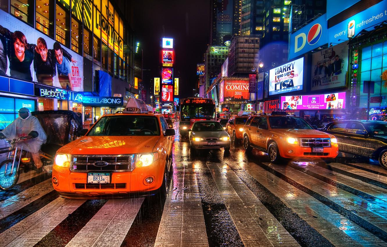 Обои rain dance, Times square, ночь, Nyc, new york. Города foto 6