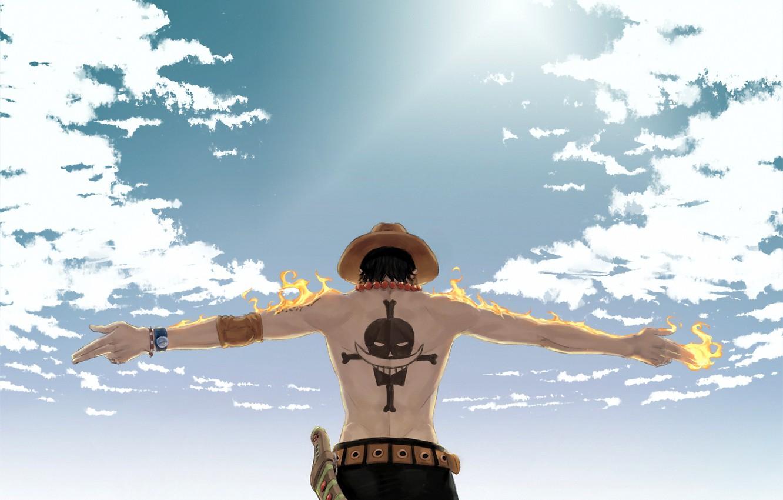 Фото обои огонь, шляпа, аниме, тату, One Piece, Portgas D Ace, Ван пис