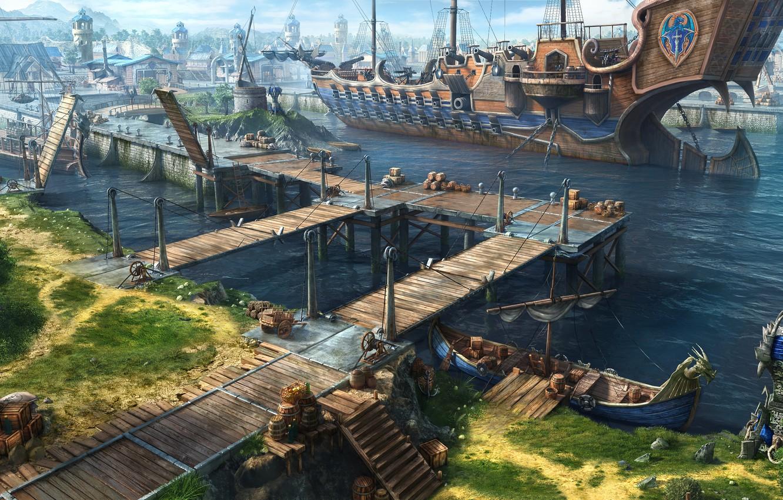 Фото обои город, корабль, причал, арт, порт, Dragon Eternity, драконы вечности