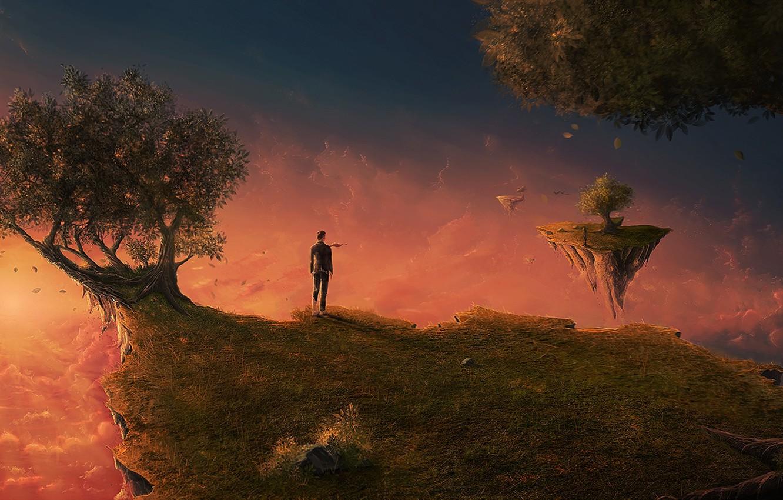 Фото обои острова, облака, деревья, закат, пространство, рассвет, человек, сон, арт, костюм, галстук, art, island, man, летающие …