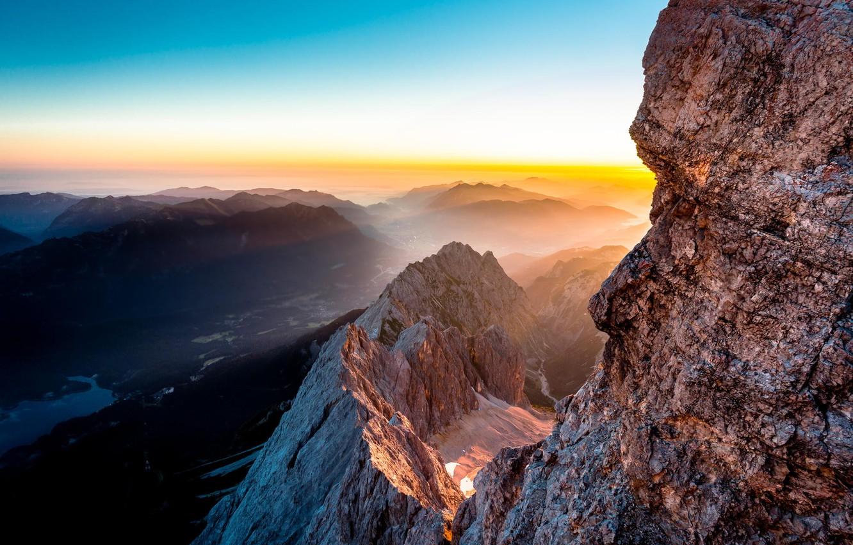 Фото обои Red, Blue, Landscape, Sun, Germany, Mountain, Sunrise, Travel, Tyrol, Hiking, Torsten Muehlbache, Places