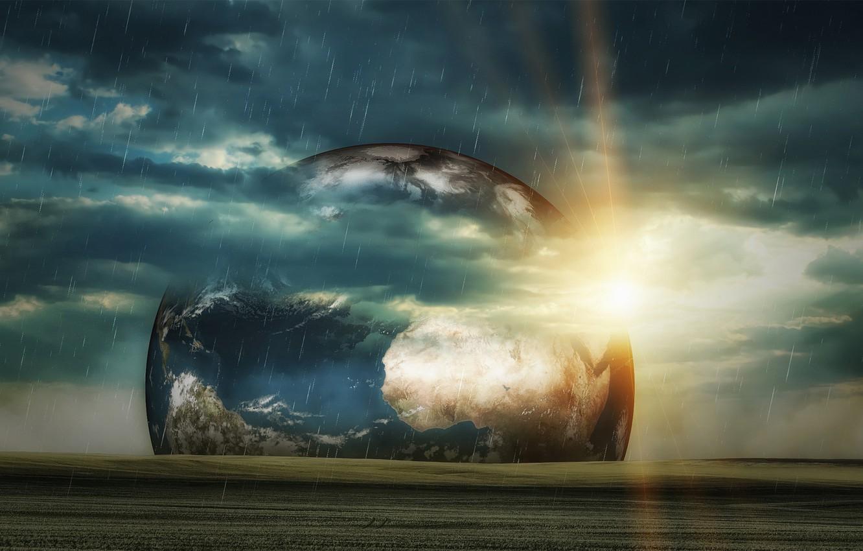 Фото обои небо, трава, солнце, космос, тучи, фантастика, дождь, планеты, Земля