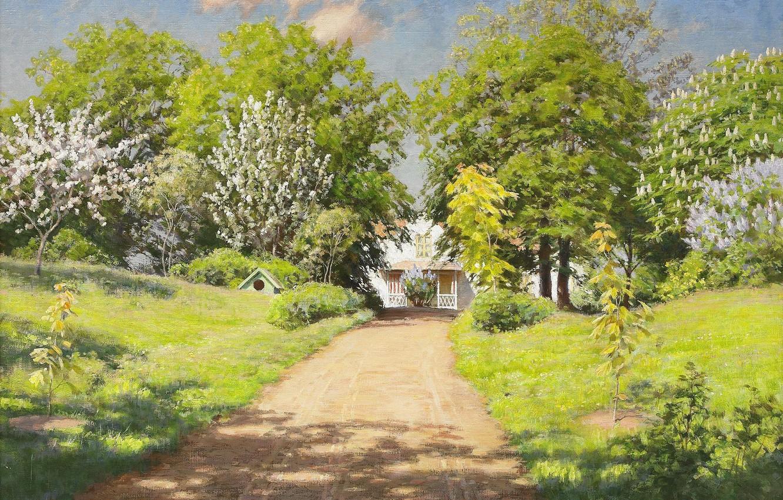 Фото обои дорога, зелень, облака, деревья, пейзаж, цветы, дом, тень, картина, весна, солнечно, кусты, сирень, дача, каштаны, …