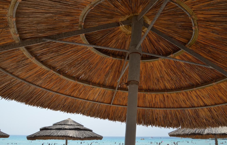 Фото обои море, пляж, лето, зонтики, summer, beach, sun, cyprus, ayia napa, кипр, without filter, айя-напа, без …