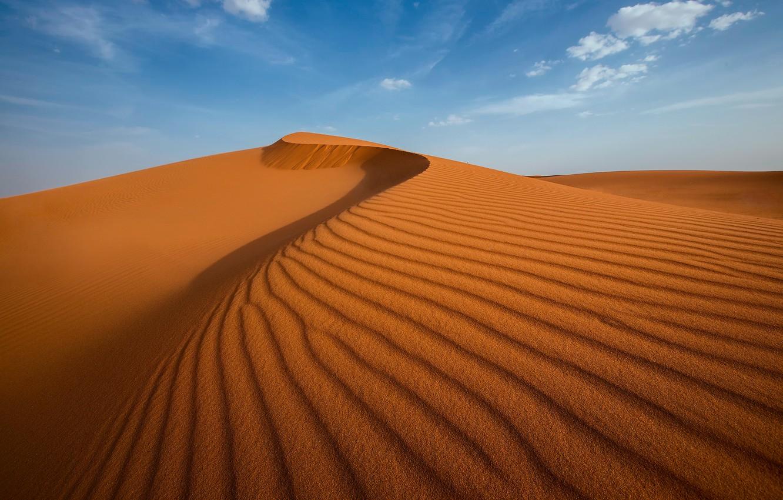 Фото обои песок, небо, облака, барханы, пустыня, дюны